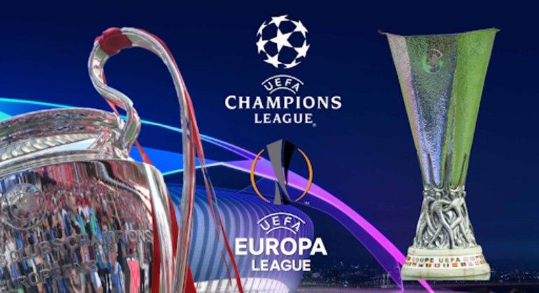 """As taças da """"Champions"""" e da Liga Europa"""