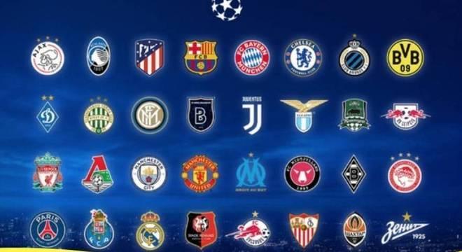 Os 32 clubes da Fase de Grupos