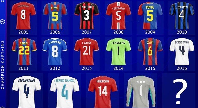 Os últimos 16 capitães