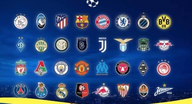 Os 32 clubes da LC de 2020/2021