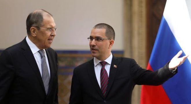 Chanceler russo, Sergey Lavrov, se reúne com seu colega venezuelano, Jorge Arreaza