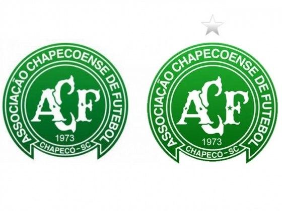 Chapecoense - A Chapecoense mudou escudo e incluiu uma estrela acima do símbolo em referência ao título da Sul-Americana, em 2016, e outra, dentro da letra F (de futebol) para lembrar as vítimas do trágico acidente aéreo de dois atrás que matou 71 pessoas