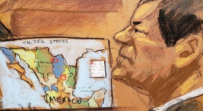 Desenho mostra El Chapo em seu julgamento na corte federal do Brooklyn (EUA)