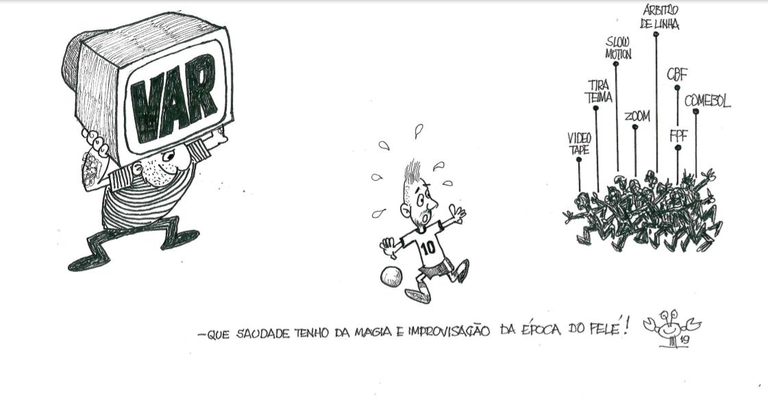 Kanni fez charge sobre o futebol brasileiro de hoje, a pedido do R7