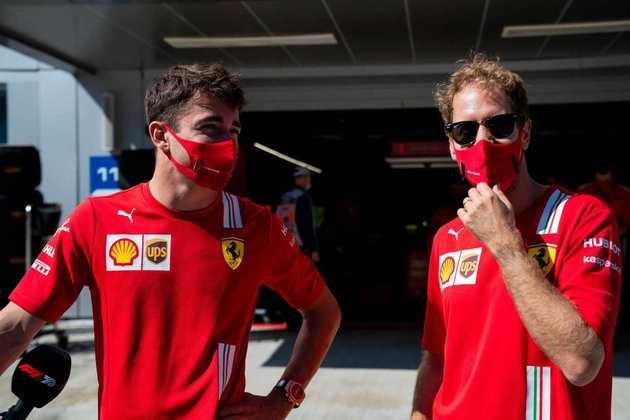 Charles Leclerc e Sebastian Vettel antes do GP da Rússia