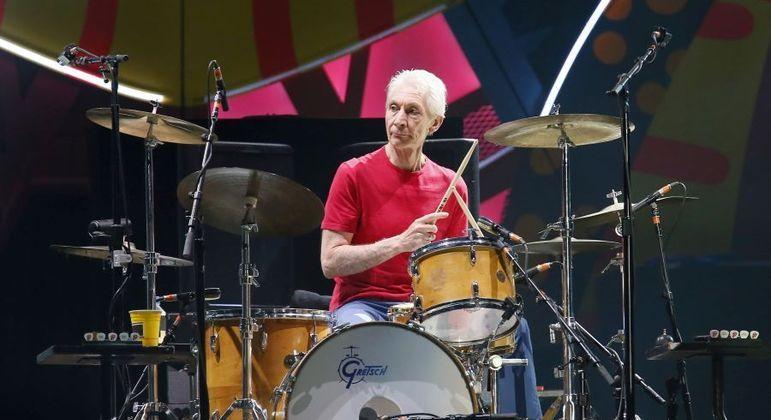 Charlie Watts durante show em Santiago, no Chile, em 2016