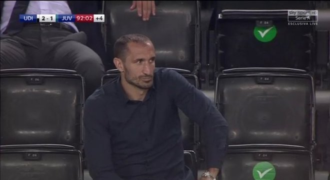Chiellini, nas tribunas, a frustração pela derrota