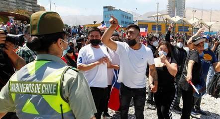 Protesto anti-imigrante movimentou as ruas de Iquique