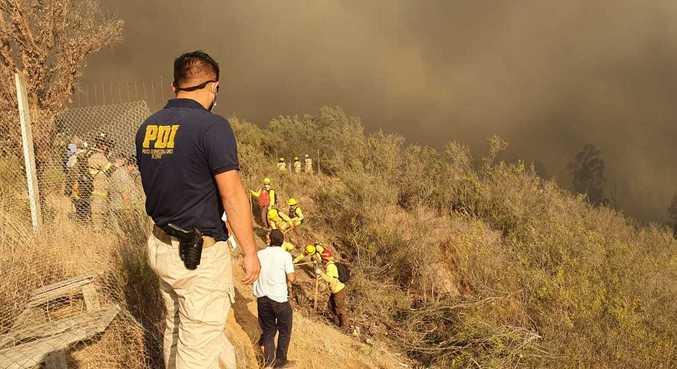 Bombeiros combatem incêndio florestal na região de Valparaíso