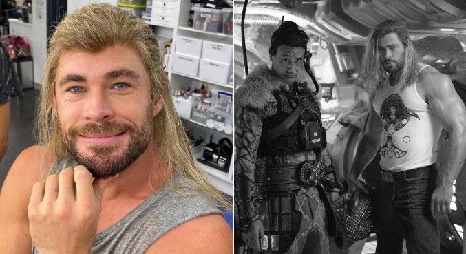 Chris Hemsworth e Taika Waititi nos bastidores do filme 'Thor: Amor e Trovão'