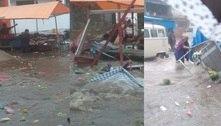 Chuva provoca enxurrada em feira livre na zona norte de São Paulo