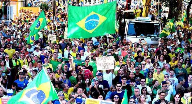 Concentração dos manifestantes em Ribeirão Preto (SP)