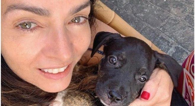 Claudia Ohana e um dos cães adotados
