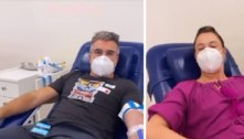Claudia Raia e marido doam sangue para Paulo Gustavo