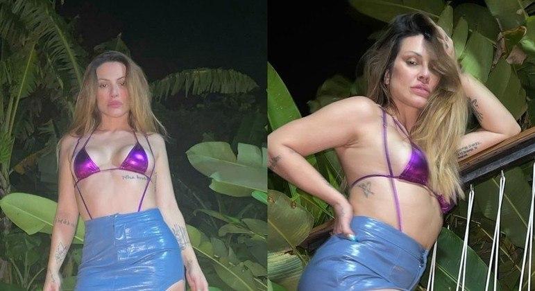Cleo de biquíni e saia com fenda durante lua de mel em Fernando de Noronha