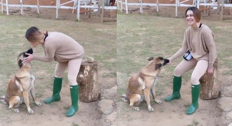 Cleo mostrou o adestramento que fez com sua cachorra na manhã desta terça (20)