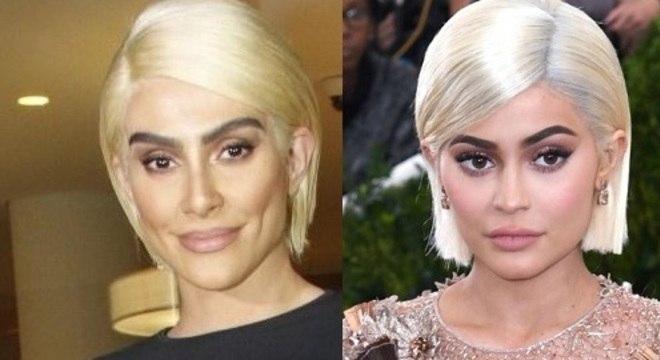 Cleo surgiu loira na festa e ficou a cara da Kylie, das Kardashians