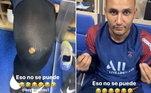 Neymar não perdoa nem o veterano goleiro Keylor Navas. No treino da última quinta-feira, ele estava com as meias furadas e o brasileiro não perdoou...