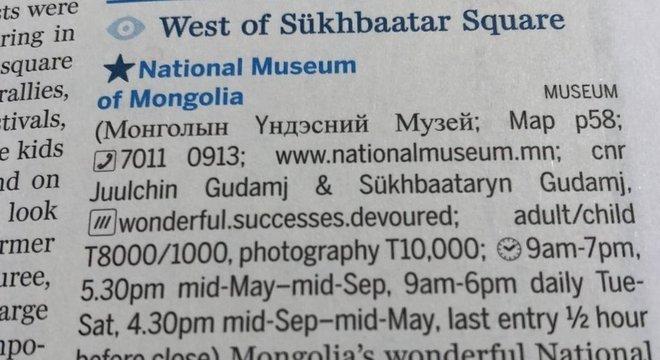 O guia de viagens Lonely Planet adotou localizações do what3words em pontos turísticos na Mongólia