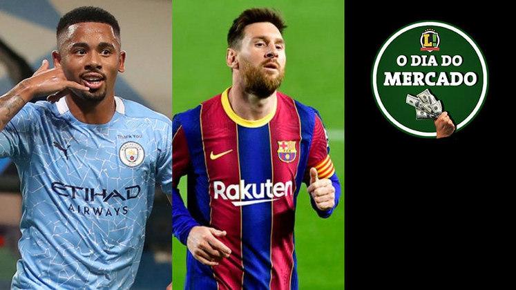 Clube europeu estuda tirar Gabriel Jesus do Manchester City na próxima temporada. La Liga permite que o Barcelona renove o contrato de Messi. Culés vão atrás de meia que se destacou a Europa em 2020/21. Tudo isso e muito mais no Dia do Mercado de segunda-feira.