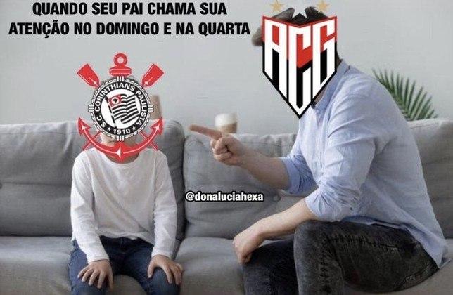 Clube paulista ficou no 0 a 0 com o Atlético-GO e deu adeus à Copa do Brasil nesta quarta-feira. Na web, rivais festejaram a queda precoce do Corinthians na competição. Veja na galeria! (Por Humor Esportivo)