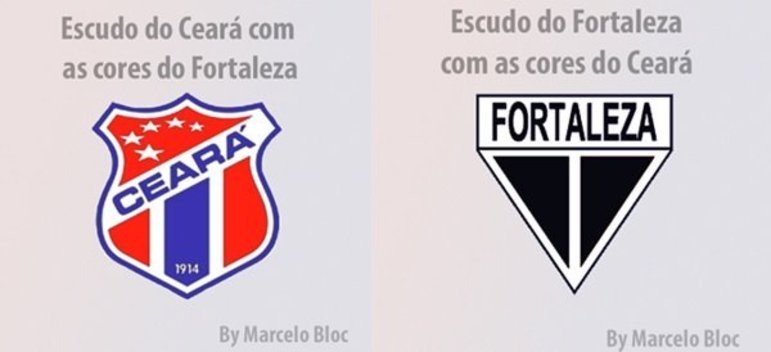 Clubes brasileiros com as cores dos rivais: Ceará e Fortaleza.