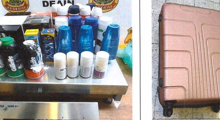 Cocaína estava escondida dentro de frascos de cosméticos