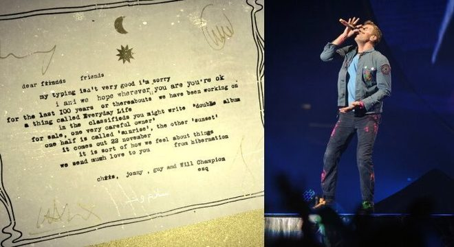 Coldplay anuncia disco com carta