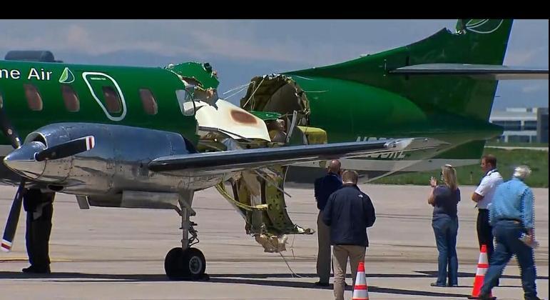 Avião que pousou em aeroporto ficou muito danificado