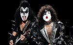 Melbourne (Australia), 28/02/2003.- KISS frontmen Gene Simmons (L) and Paul Stanley wear their fancy black outfit with faces painted in white during their concert in Melbourne, Australia, 28 February 2003 (reissued 25 May 2020). Black is synonymous with darkness and represents the total opposite of white. It is commonly used to symbolize danger, evil, death and mourning, but is also connected to positive notions like strength, elegance and sophistication. EFE/EPA/JULIAN SMITH AUSTRALIA AND NEW ZEALAND OUT -- ATTENTION: This Image is part of a PHOTO SET