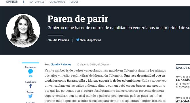 Jornalista defendeu em coluna que o controle da natalidade dos venezuelanos deveria ser uma prioridade do governo