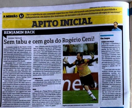 Coluna de Benjamin Back sobre o 100º gol de Rogério Ceni