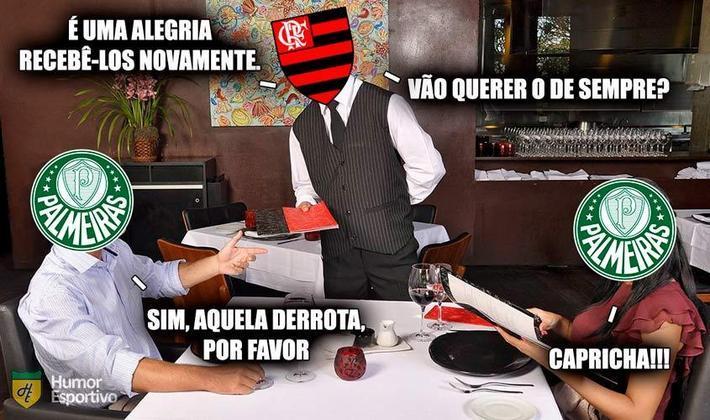 Com a derrota por 3 a 1 no último domingo (12), o Palmeiras já soma 9 jogos sem vitórias sobre o Flamengo (5 derrotas e 4 empates). O último triunfo alviverde aconteceu em novembro de 2017. Relembre como foram as zoeiras após as vitórias do rubro-negro de lá para cá! (Por Humor Esportivo)