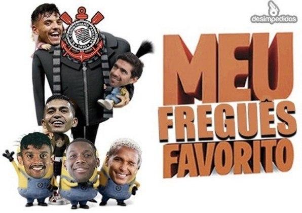 Com direito a dois gols de Róger Guedes, o Corinthians venceu o rival por 2 a 1 na noite de sábado e enlouqueceu a Fiel nas redes sociais. Confira na galeria os melhores memes! (Por Humor Esportivo)