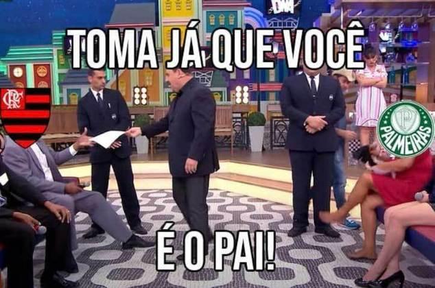 Com gol de Pedro, o rubro-negro venceu a equipe de Abel Ferreira e chegou a oito jogos de invencibilidade contra o rival. Na web, torcedores se dividiram entre freguesia e paternidade do Flamengo. Veja os memes! (Por Humor Esportivo)