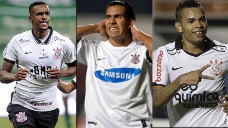 Com o gol marcado sobre o Atlético-MG, o atacante Jô igualou o argentino Tevez como sexto maior artilheiro do Corinthians no século, com 46 gols. Veja a lista completa!