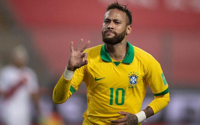 Com três gols marcados na vitória de virada da Seleção sobre o Peru por 4 a 2, Neymar alcançou o posto de vice-artilheiro na história da Seleção Brasileira em jogos oficiais. O LANCE! lista os 25 maiores goleadores com a camisa amarelinha.