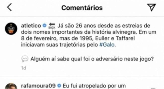 Comentário de Rafael Moura na publicação do Atlético