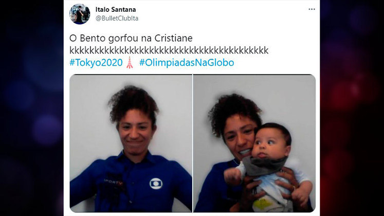 Comentarista durante os Jogos Olímpicos, a atacante Cristiane sofreu com uma golfada do filho Bento durante a transmissão.
