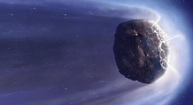 Ilustração de um cometa genérico. Os cometas são restos de materiais que deram origem a planetas gigantes e nunca chegaram a ser incorporados a esses planetas