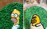 Experiências com bolos decorados costumam resultar em tragédias, esse Homer Simpson que o diga