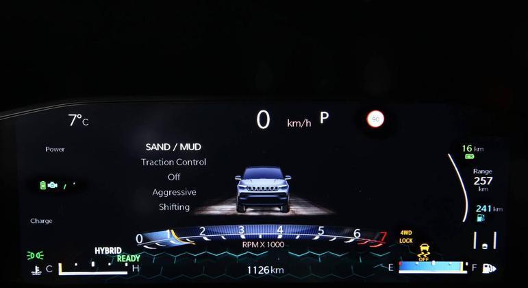 Cluster digital permite múltiplas configurações e alertas sonoros e visuais de segurança no novo Compass