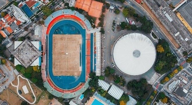 Vista aérea do Complexo do Ibirapuera, na zona sul de São Paulo