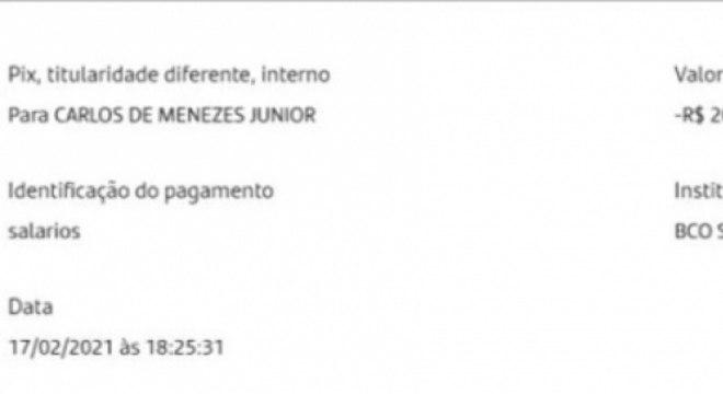 Comprovante de pagamento postado na nota do Cruzeiro