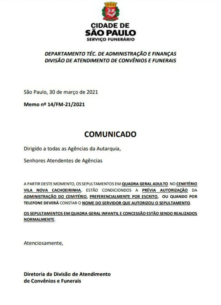 Comunicado da divisão de atendimento de convênios e funerais da prefeitura de SP
