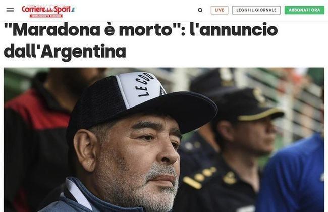 Confira a repercussão da morte de Diego Armando Maradona no jornal italiano 'Corriere dello Sport'