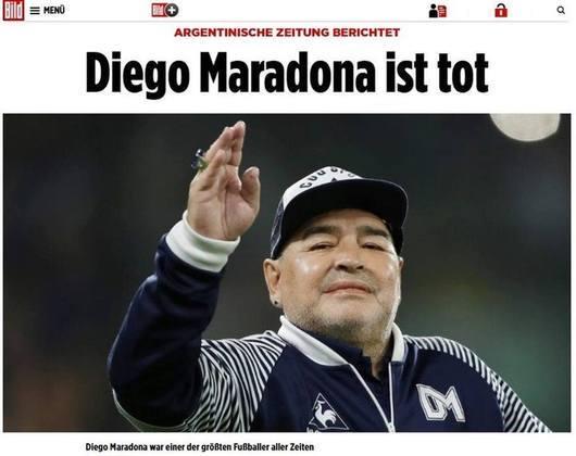 Confira a repercussão da morte de Diego Armando Maradona no periódico alemão: 'Bild'