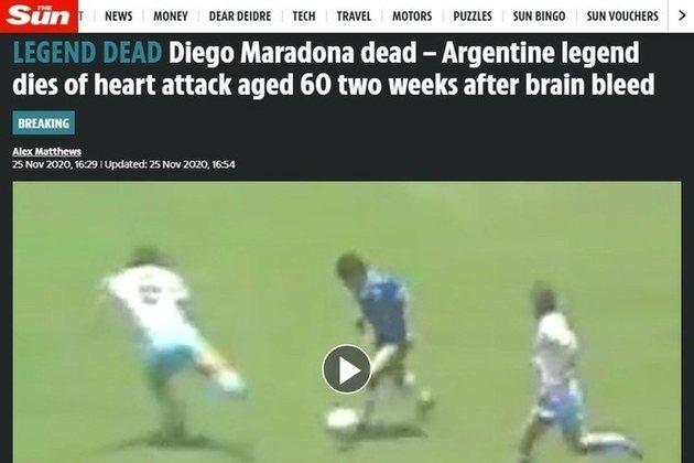 Confira a repercussão da morte de Diego Armando Maradona no periódico britânico: 'The Sun'.