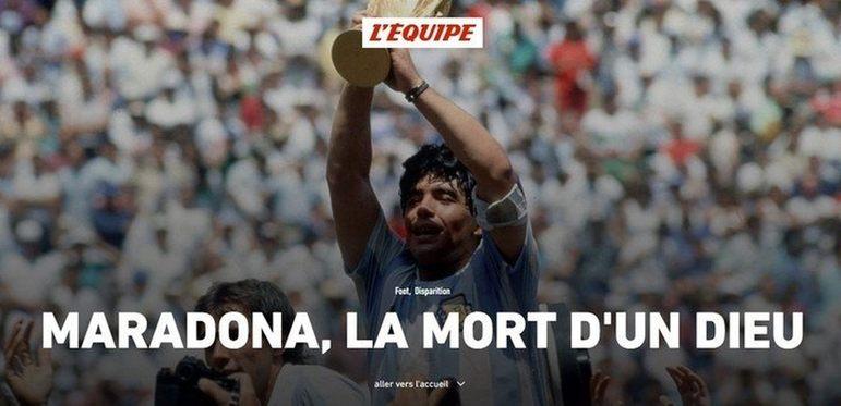 Confira a repercussão da morte de Diego Armando Maradona no periódico francês 'L'Equipé'.