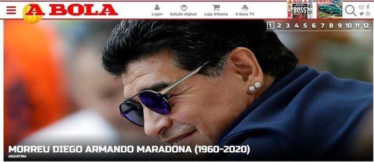 Confira a repercussão da morte de Diego Armando Maradona no periódico português 'A Bola'
